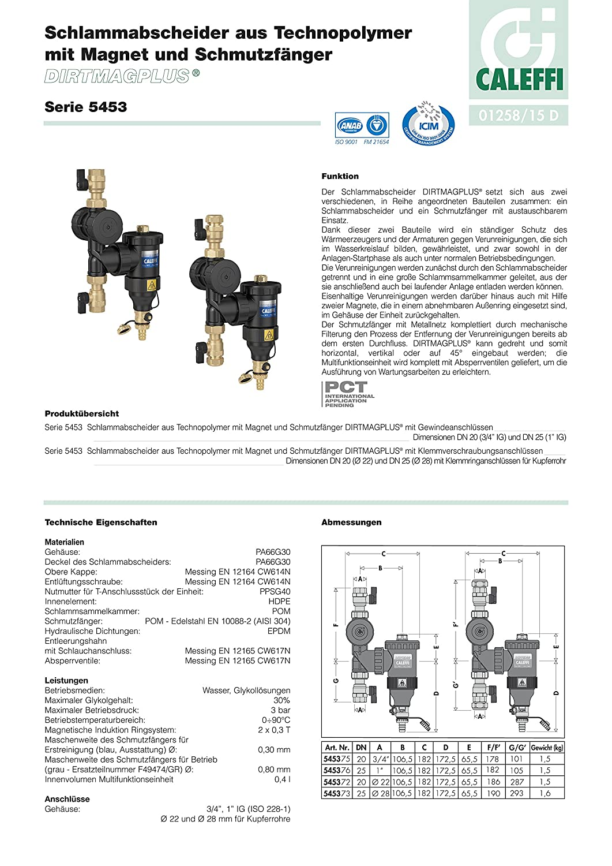 Im/án y Cuerpo en Tecnopol/ímero CALEFFI 545376 DIRTMAGPLUS Dispositivo Multifunci/ón 1 H con Desfangador Filtro