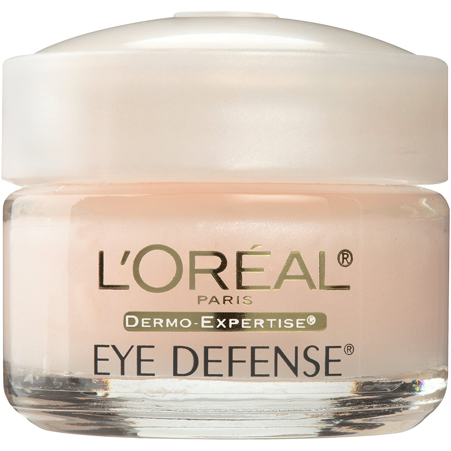 Eye Cream to Reduce Puffiness, Lines and Dark Circles, L'Oreal Paris Skincare Dermo-Expertise Eye Defense Eye Cream with Caffeine and Hyaluronic Acid For All Skin Types, 0.5 oz.: Beauty