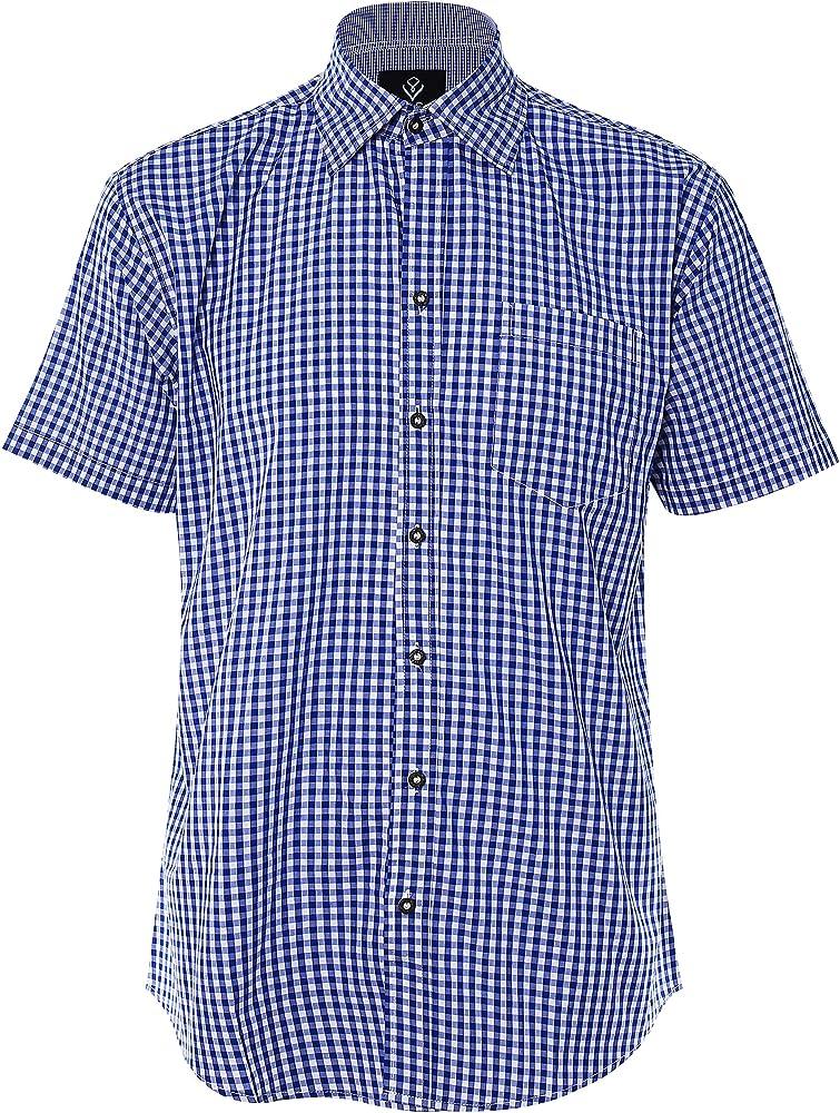 Trachten Shirt Bianco Camisa Casual a Cuadros de Hombre Camisa de Manga Larga de Estilo Country Camisa Slim fit de algodón Bordado: Amazon.es: Ropa y accesorios