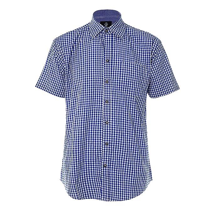 Evelure Herren Hemd Kariert Kurzarm Trachtenhemd Kentkragen Shirts Regular Fit Businesshemd