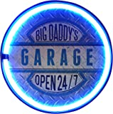 """Big Daddy's Garage Open 24/7 LED Neon Rope Sign, LED Light Rope With Neon Like Effect, 12"""" Round Bottle Cap Shape, Batteries Or Plug-In, Ready To Hang In Home, Bar, Garage, Or Man Cave"""