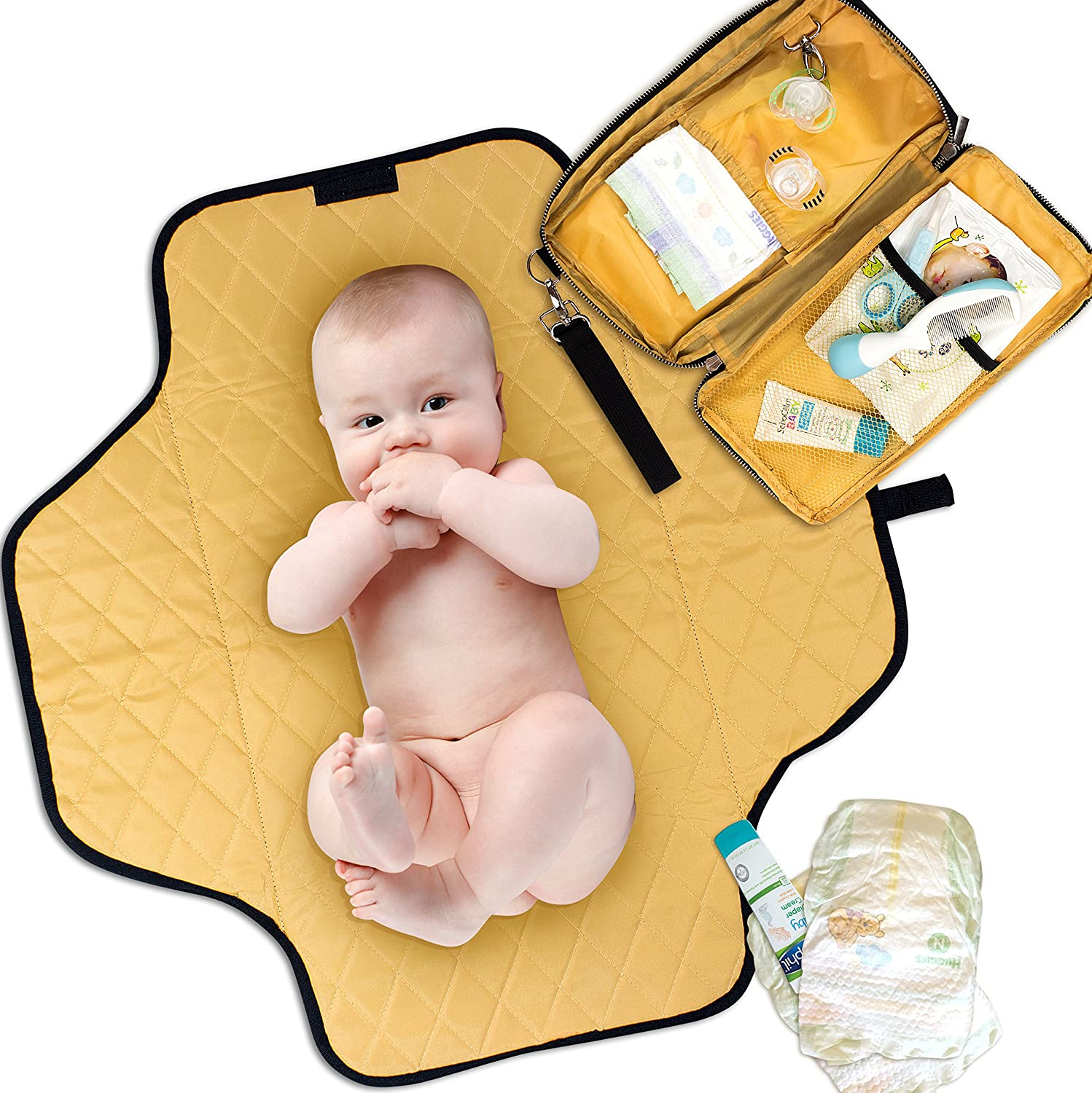 Portable Changing Pad Diaper Clutch Waterproof – Lightweight Padded Travel Mat – Compact Size Doubles as Car, Diaper Bag, and Stroller Organizer – Great for New Parents and Baby Shower Gifts NETA-LI