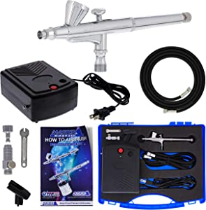 Master Airbrush Airbrushing System Kit with a G34 Multi-Purpose Gravity Feed Dual-Action Airbrush with 1/16oz. Cup and 0.3mm Tip, Mini Air Compressor, Hose, Storage Case, How-To-Airbrush Guide Booklet