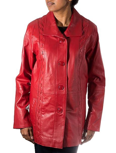 1a5c696af172c Delle donne rosso classico 3 4 Pulsante reale in pelle morbida pelle di  agnello cappotto lungo  Amazon.it  Abbigliamento