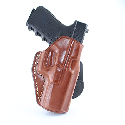 Premium Leather OWB Paddle Holster with Open Top Fits, Glock 17 19 21 29 30  34 36 37 20 38 26 41 42, Right Hand Draw, Brown Color