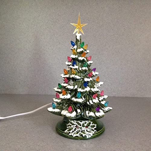 Christmas Decoration Vintage Style Ceramic Christmas Tree 11 Inches Tall A Holiday Lighted Decoration Green Glaze Snow And Yellow Star