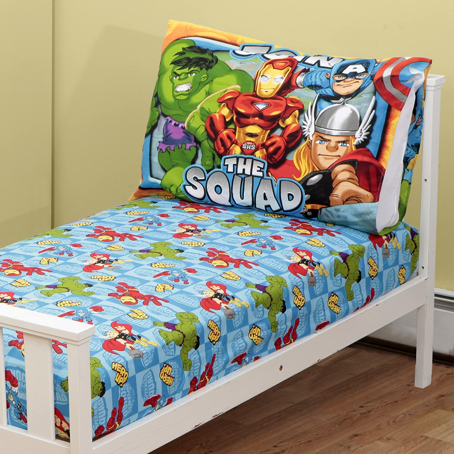 Amazon.com : Marvel Super Hero Squad Marvel Toddler Fitted Sheet And Pillow  Case, Blue (Discontinued By Manufacturer) : Baby