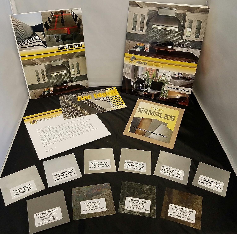 zinc sheet sample pack solid metal sheets amazon com industrial