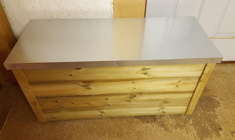 SMILES Wooden Galvanized Steel Flat Roof Outdoor Storage Box (100cm L x 40cm W x 52cm H) smileswoodcraft ltd