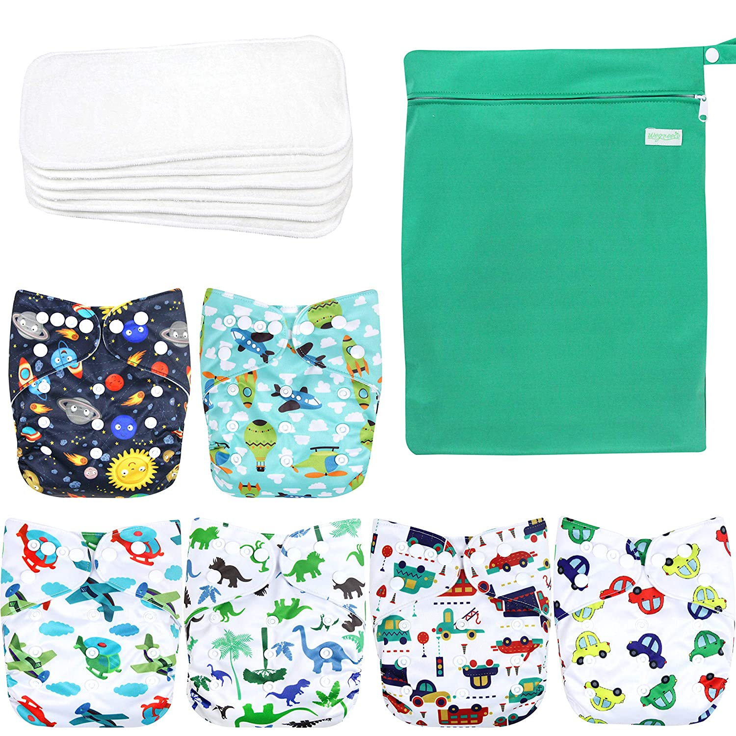 with 1 Wet Bag, Car, Airplane Wegreeco Washable Reusable Baby Cloth Pocket Diapers 6 Pack 6 Bamboo Inserts
