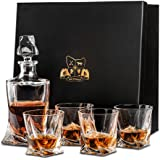 Crystal Whisky Decanter (750ml) and Set of 4 Glasses (300ml). Lead Free Crystal 'Tasman Twist' by Van Daemon for Spirits, Bourbon or Scotch. Perfectly Gift Boxed.