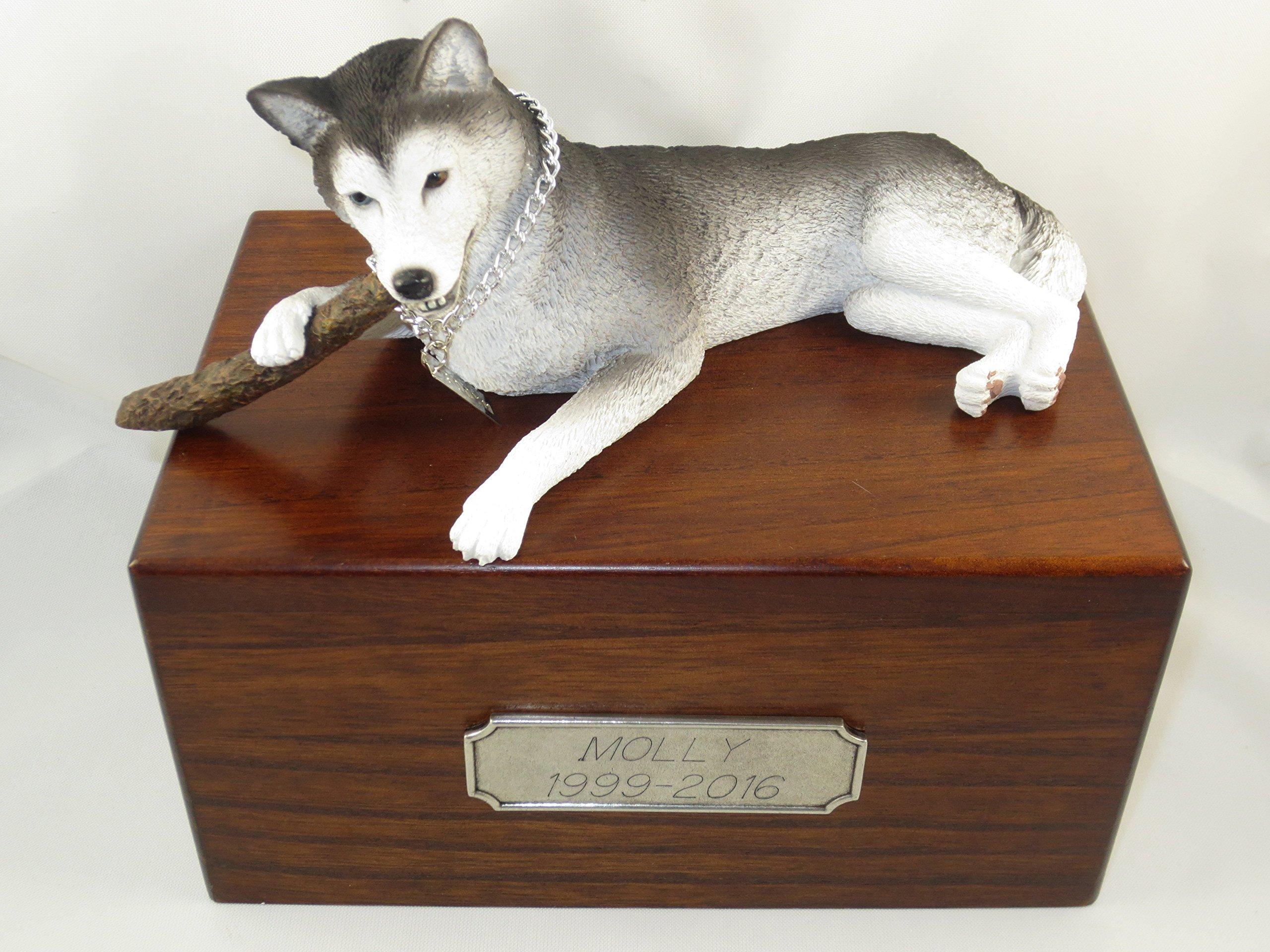 Beautiful Paulownia Medium Wooden Urn with Black & White Husky Blue Eyes ''My Dog'' Large Figurine & Pewter Personalized Engraving