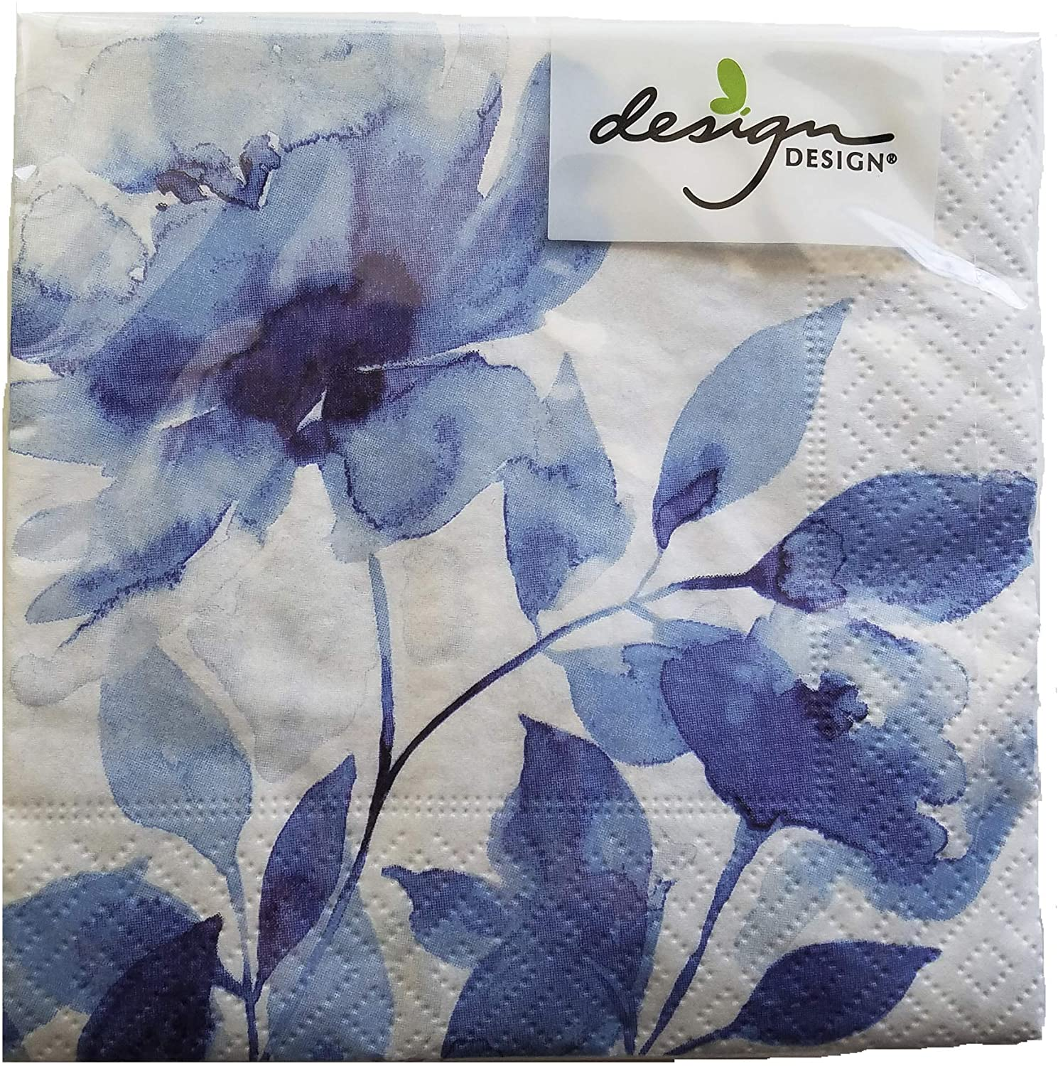 Blue and White Watercolor Floral Beverage Cocktail Napkins - 5x5 Inch Square