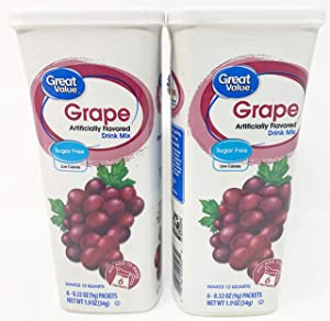Great Value: Grape Drink Mix, 1.9 Oz - 6 Packets (2 Pack)