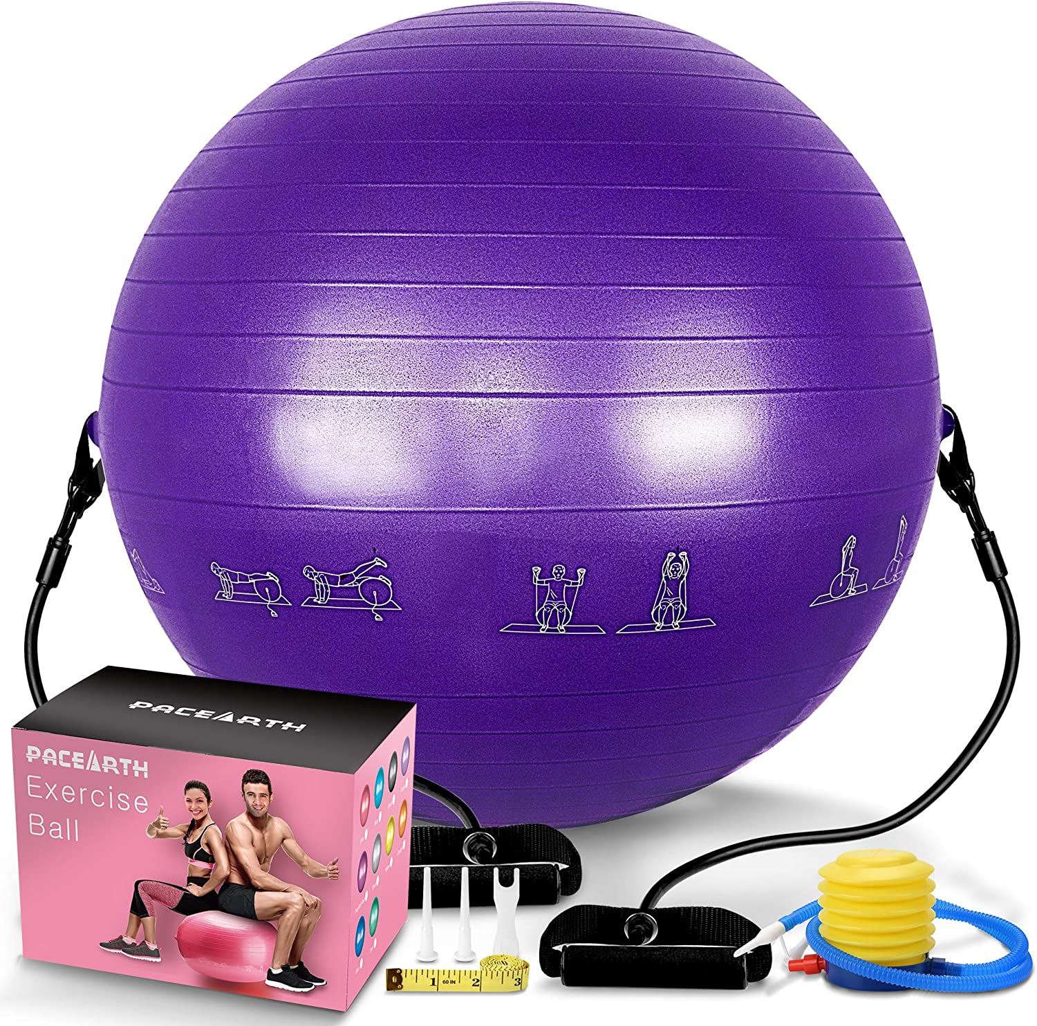 PACEARTH Exercise Ball for Home Gym Office Thick Yoga Ball Chair with Resistance Bands and Quick Pump Anti-Burst Heavy Duty Stability Fitness Balance Birthing Workout Ball for Pilates