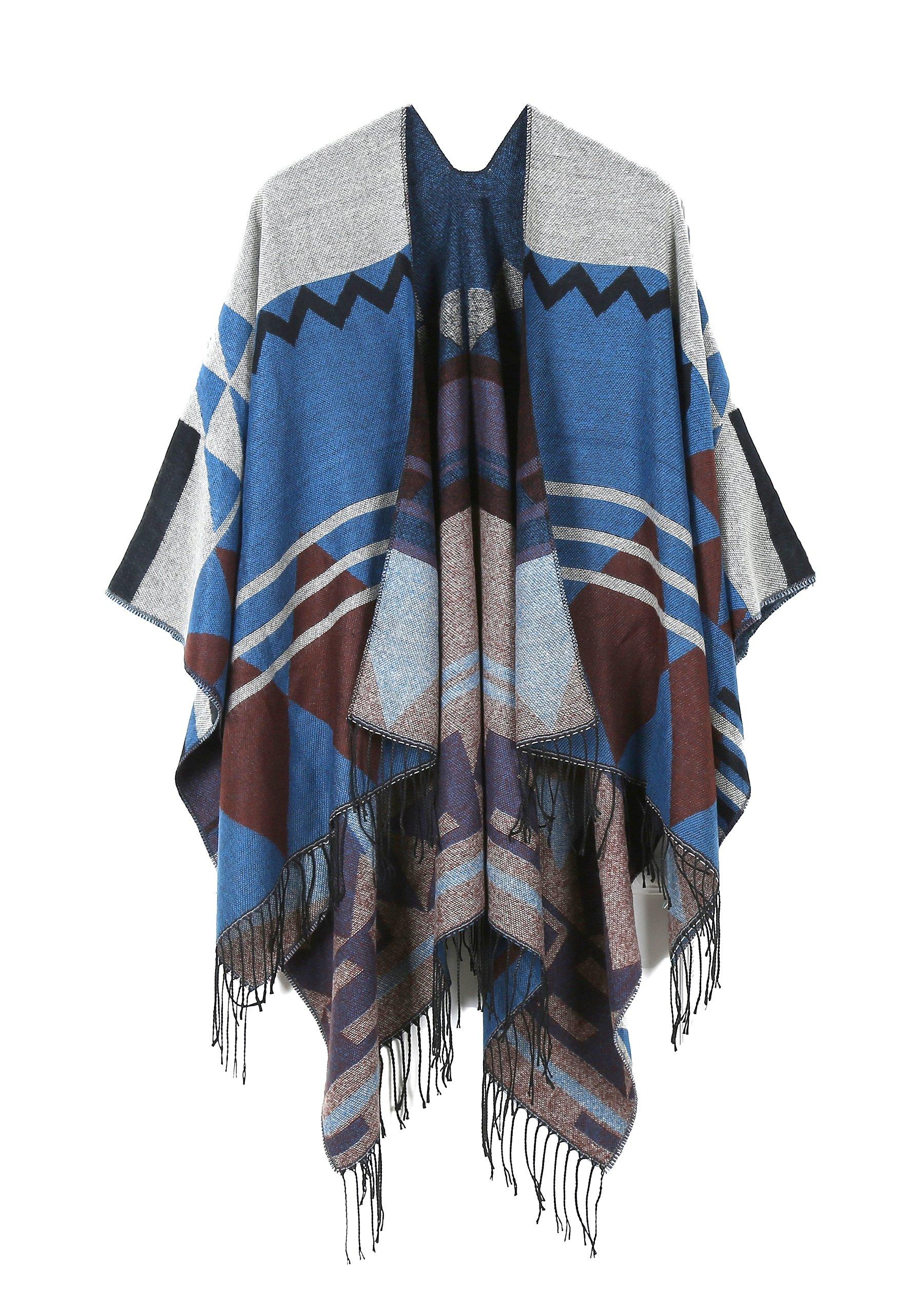 JURUAA Loose Mexican Wool Poncho Shawl Cloaks Cape Wrap Kimono Cardigans Navy