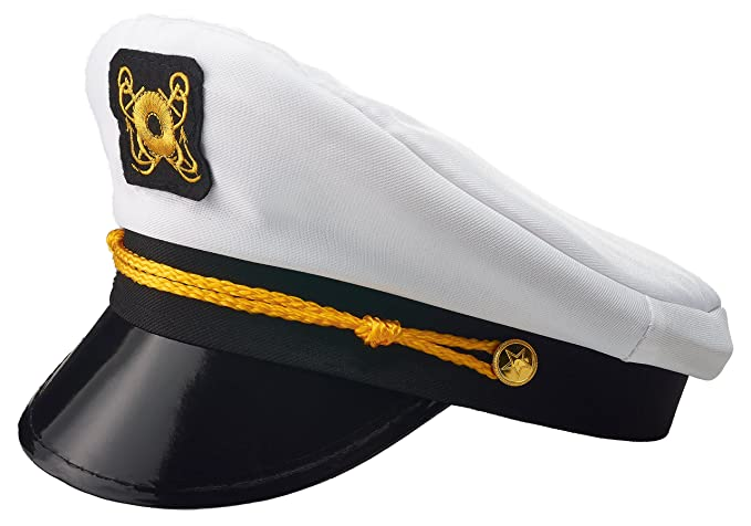 6c982ce5e3ed0 NJ Novelty - Yacht Captain Hat Sailor Skipper Cap Sailor Adult Costume  Accessory