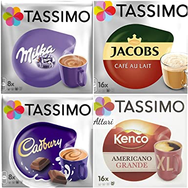 Tassimo Hot Chocolate Cadbury Milka And Coffee Pods Jacobs Cafe Au Lait Kenco Americano Grande Xl Total 48 Cups 4 Packs 48 Servings