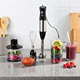 Classic Cuisine Immersion Blender-4-In-1 6 Speed Hand Mixer Set Whisk Food Processor Cup, 32oz. Beaker, For Soup, Milkshakes, Salsa, and More