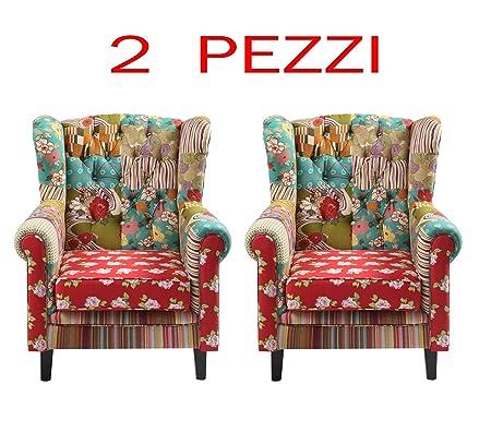 Set 2 POLTRONE Patchwork arredo Design Italiano a Prezzo ...