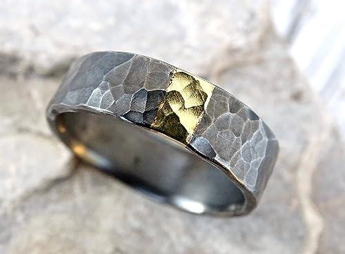Amazon Com Mens Wedding Band Mixed Metal Unique Mens Ring Silver