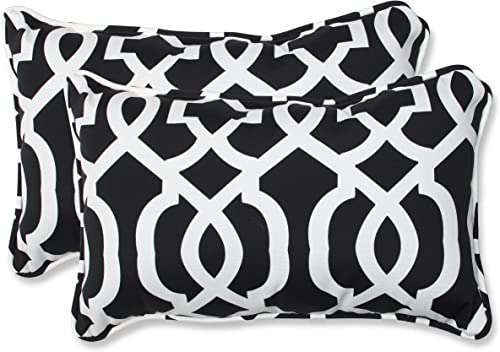 Pillow Perfect Outdoor Indoor New Geo Lumbar Pillows, 11.5 x 18.5 , Black White, 2 Pack