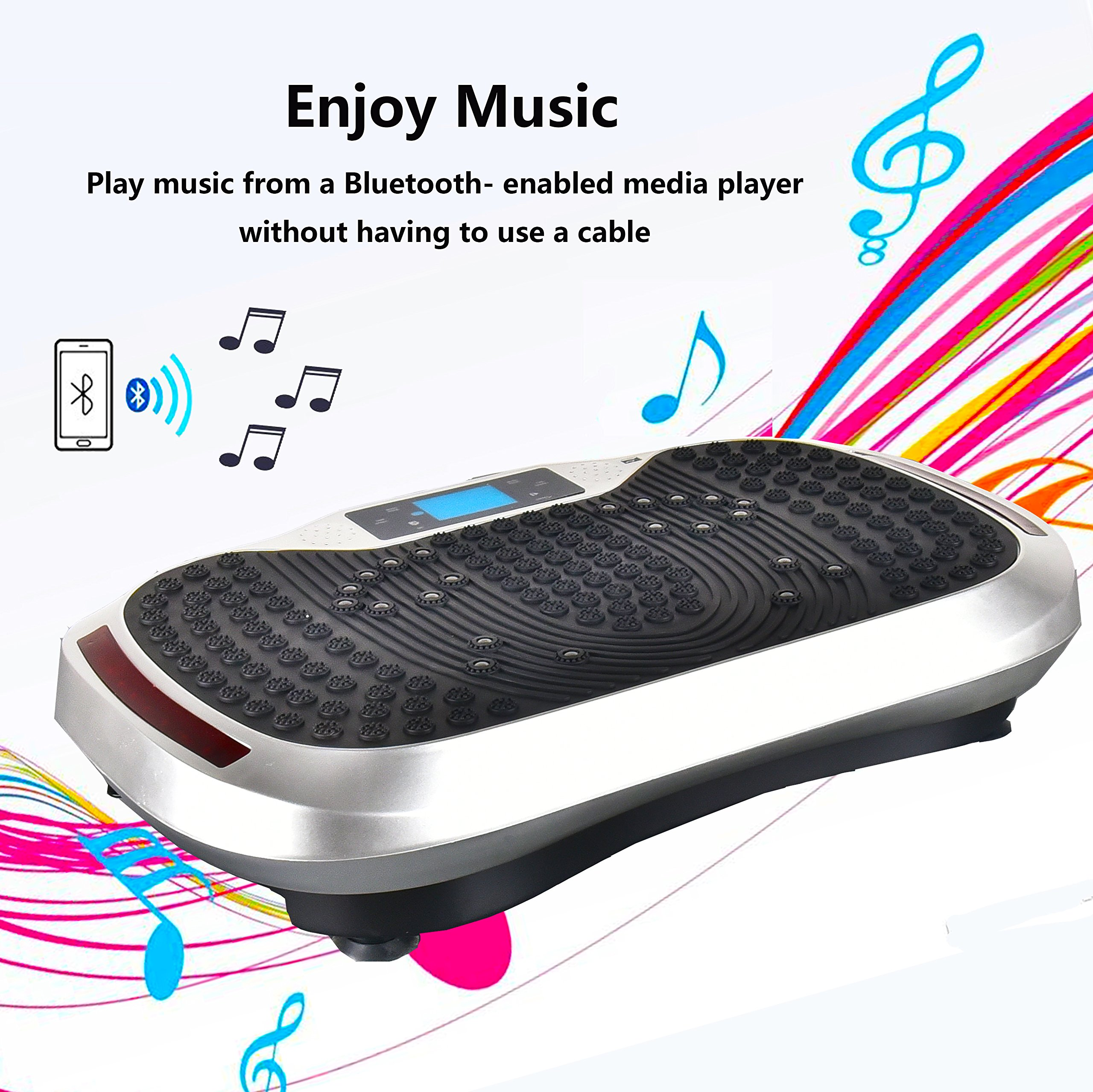 Reliancer Built-in Music Player Fitness Vibration Platform Whole Full Body Shaped Crazy Fit Plate Massage Workout Trainer Exercise Machine Plate w/Integrated USB Port&LED Light (W/Music-Silver) by Reliancer (Image #2)