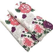 HGHG Bamboo Muslin Baby Swaddle Blanket Bedding Infant Bath Towel Multifunctional Envelopes 47x47 Purple Floral Swaddle