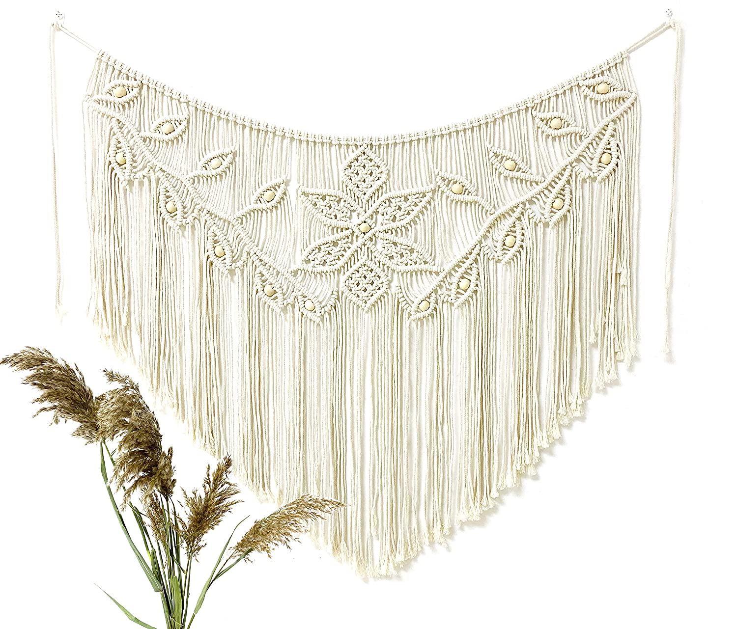 Youngeast Home Decor Leaf Shape Macrame Wall Hanging Woven Tapestry Bedroom Curtain Fringe Garland Banner Living Room Wall Decor Beige 39X31 inches