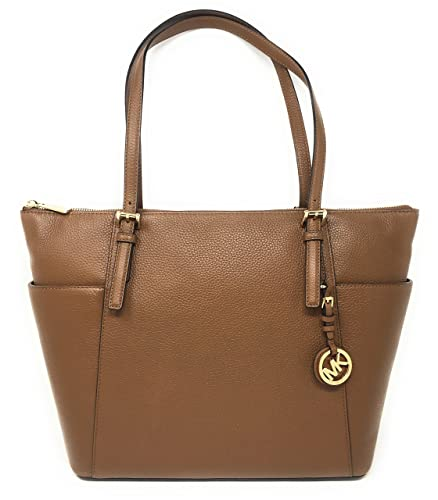 cce85bea88937c Michael Kors Jet Set Item Large East West Top Zip Leather Tote (Luggage)