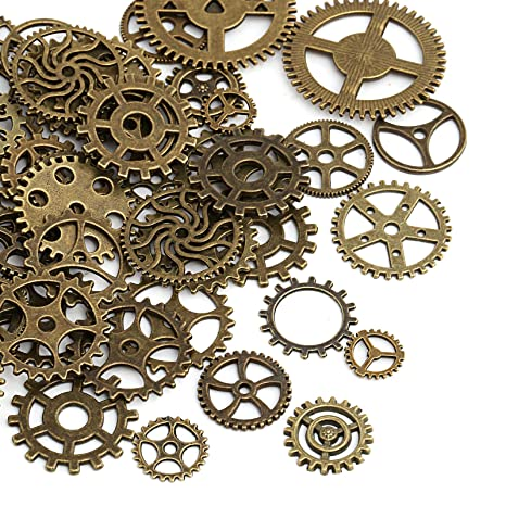 Naler 80pcs Antique Gears Wheels Skeleton Steampunk Pendant Charms Clock Watch Gears Wheels For Diy Crafts Jewelry Making Cosplay Costume