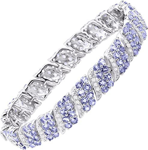 6 1//2 ct Natural Tanzanite Tennis Bracelet with Diamonds in Sterling Silver