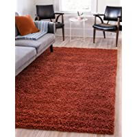 Deals on Unique Loom Solo Solid Shag Plush Terracotta Area Rug