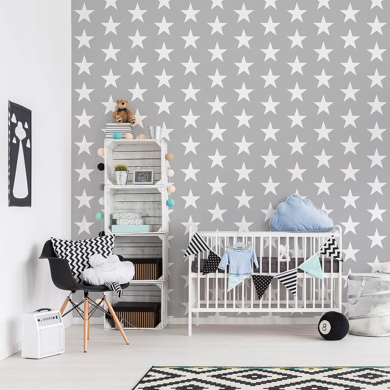 Kinderzimmer sterne grau  Mustertapete für Kinderzimmer - Weiße Sterne auf grauen Hintergrund ...