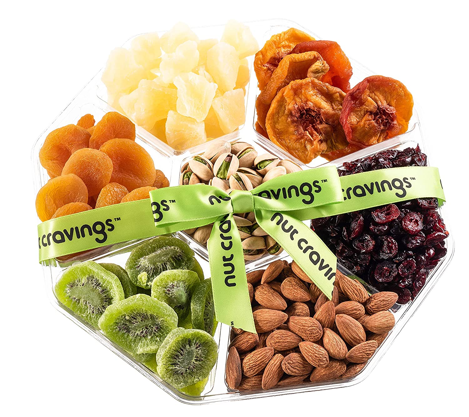 Amazon.com : Nut Cravings Holiday Fruit and Nuts Gift Basket   Large Variety Of 7-Section Gourmet Prime Assorted Dried Fruit tray   Great for Thanksgiving, ...