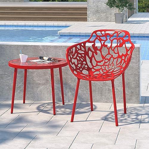 LeisureMod Devon Modern Aluminum Indoor-Outdoor Stackable Dining Side Armchair Red