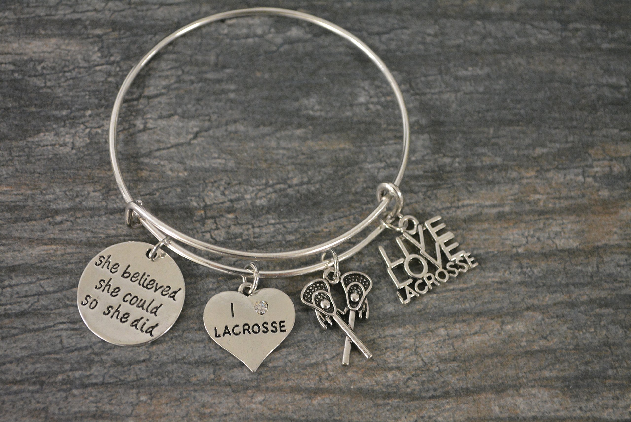 Infinity Collection Lacrosse Charm Bangle Bracelet, Girls Lacrosse She Believed She Could So She Did Jewelry Lacrosse Gifts For Female Lacrosse Players by Infinity Collection (Image #2)