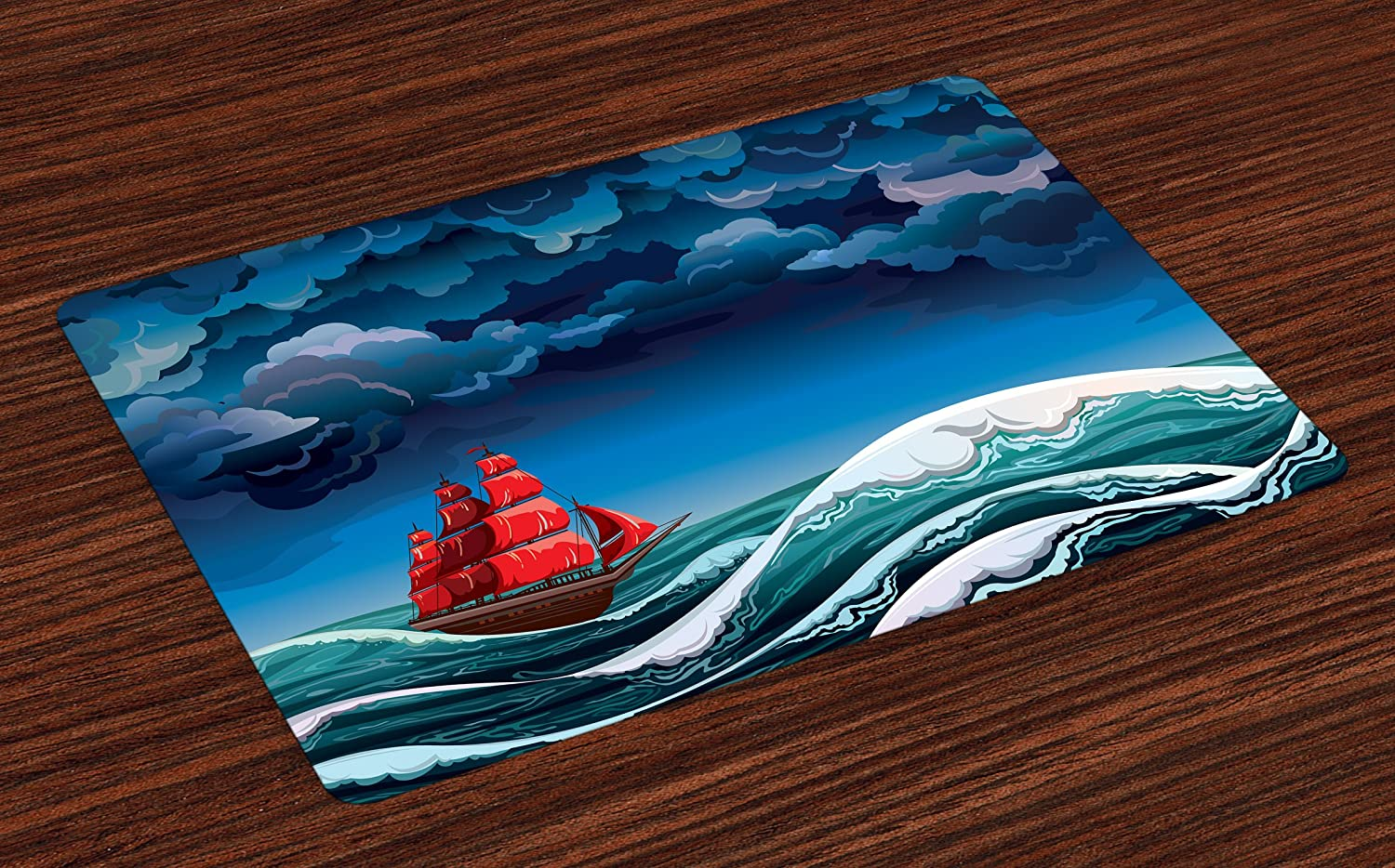 Lunarable Marine Place Mats Set of 4, Vintage Frigate in Tempest Wavy Ocean and Storm Clouds Seascape, Washable Fabric Placemats for Dining Room Kitchen Table Decor, Night Blue Vermilion and Teal
