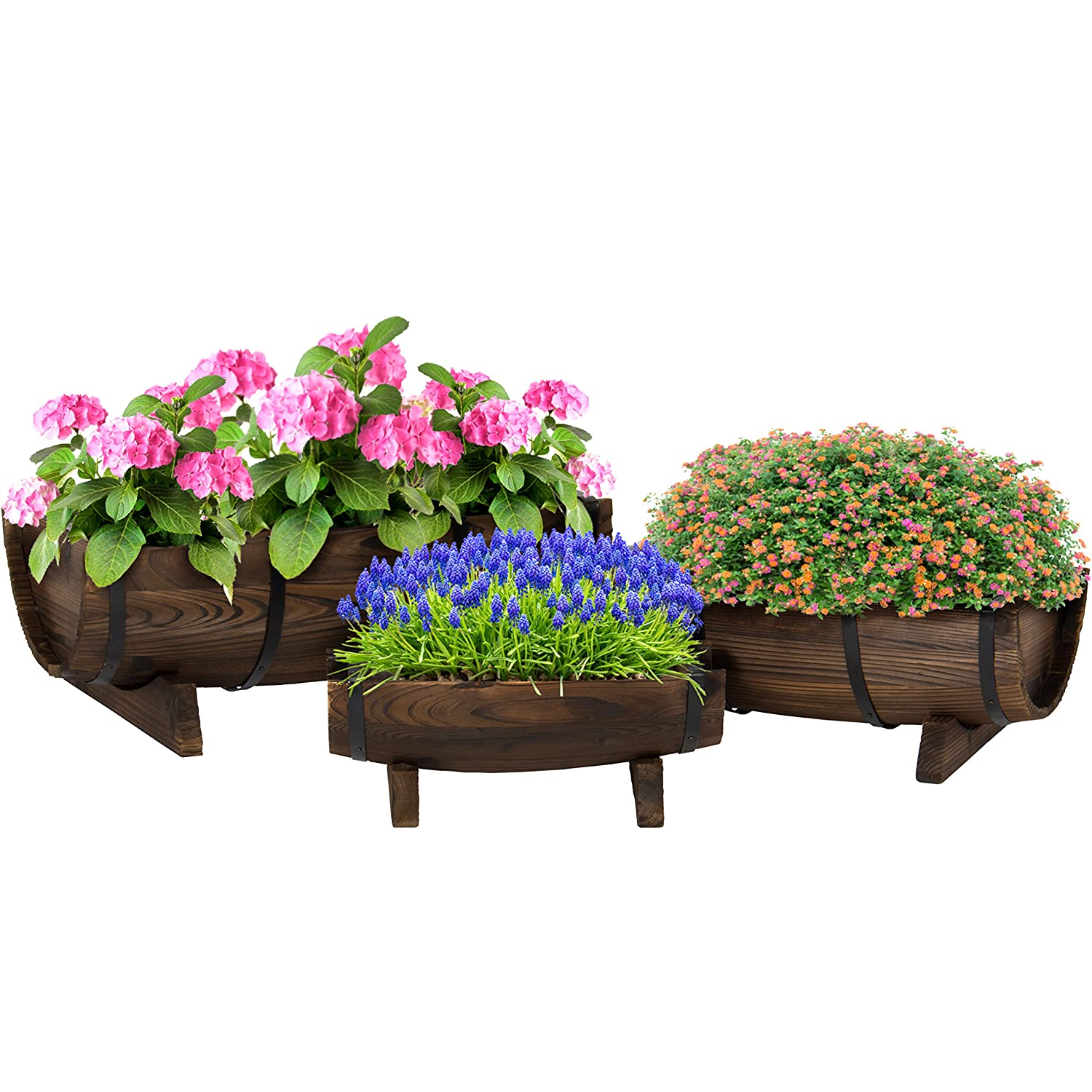 Best Choice Products Set of 3 Garden Decor Rustic Wood Half Barrel Planters – Brown