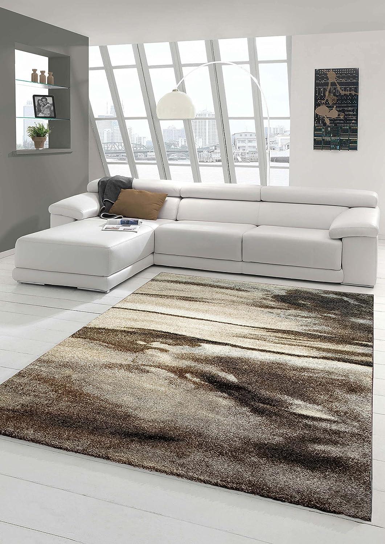 Designer Teppich Moderner Teppich Wohnzimmer Teppich Kurzflor Teppich Barock Design Meliert in Braun Taupe Grau Größe 200 x 290 cm