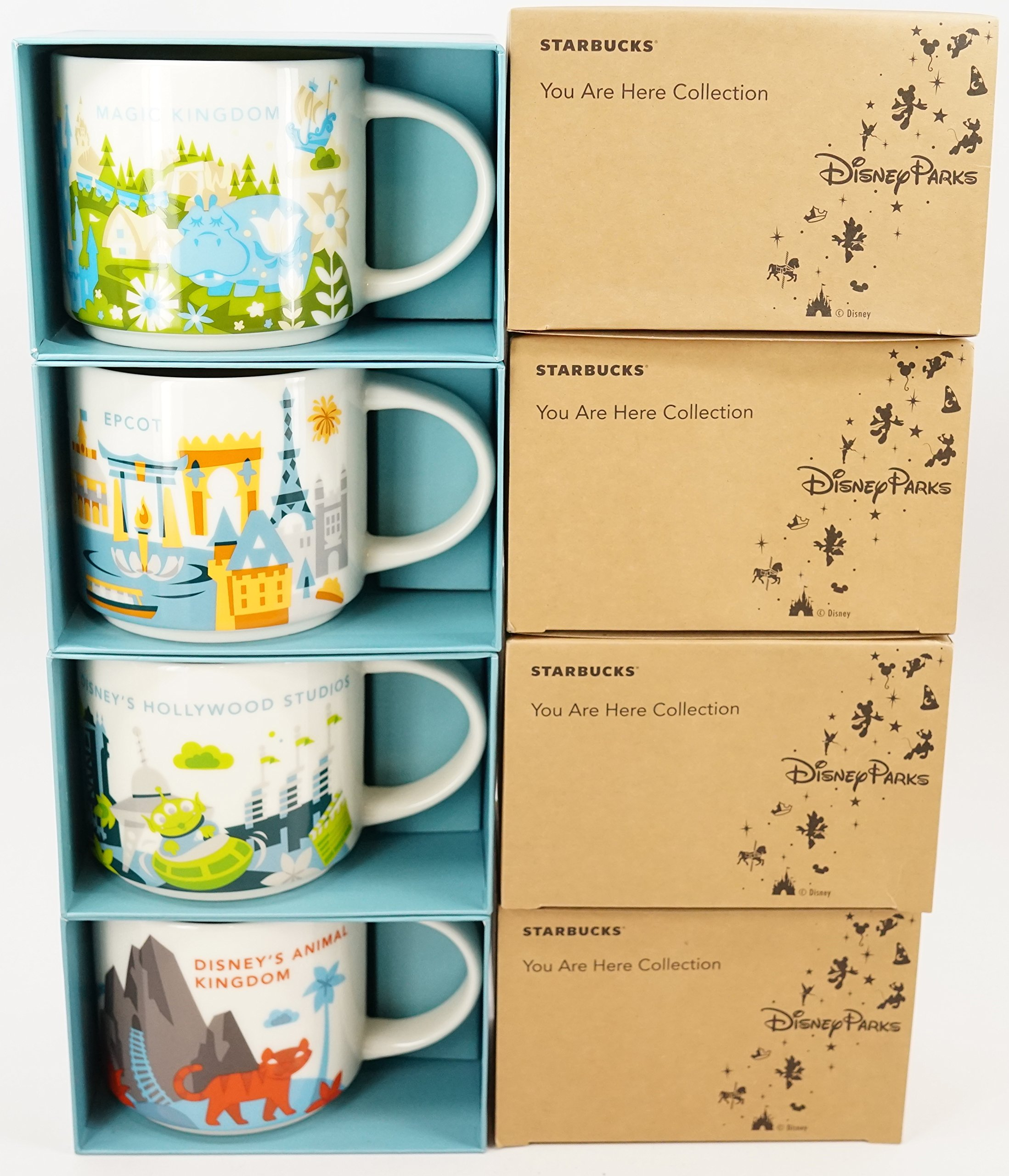 Set of 4: Disney's Animal Kingdom + Magic Kingdom + Hollywood Studios + Epcot 2017 Version You Are Here Starbucks Mugs by Starbucks