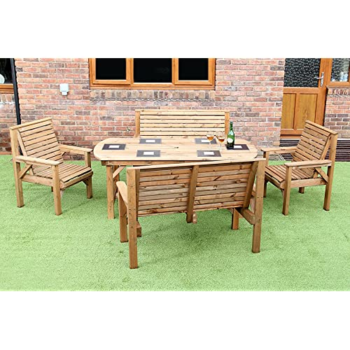 6FT WOODEN GARDEN FURNITURE PREMIUM PATIO SET TABLE 2 BENCHES AND 2 CHAIRS