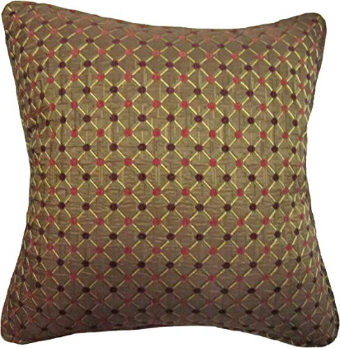 18×18 Burgundy and Pink Dots Brocade Decorative Throw Pillow Cover Maga Collection