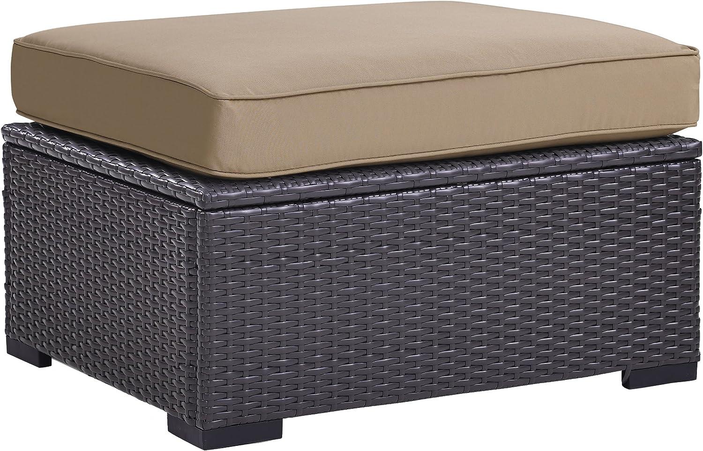 Crosley Furniture KO70127BR-MO Biscayne Outdoor Wicker Ottoman, Brown with Mocha Cushions