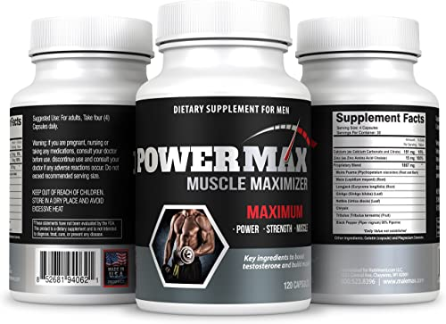 Powermax Testosterone Booster- 120 Capsules – Boost Testosterone Naturally- Powerful Test Booster- Testosterone Enhancing Formula
