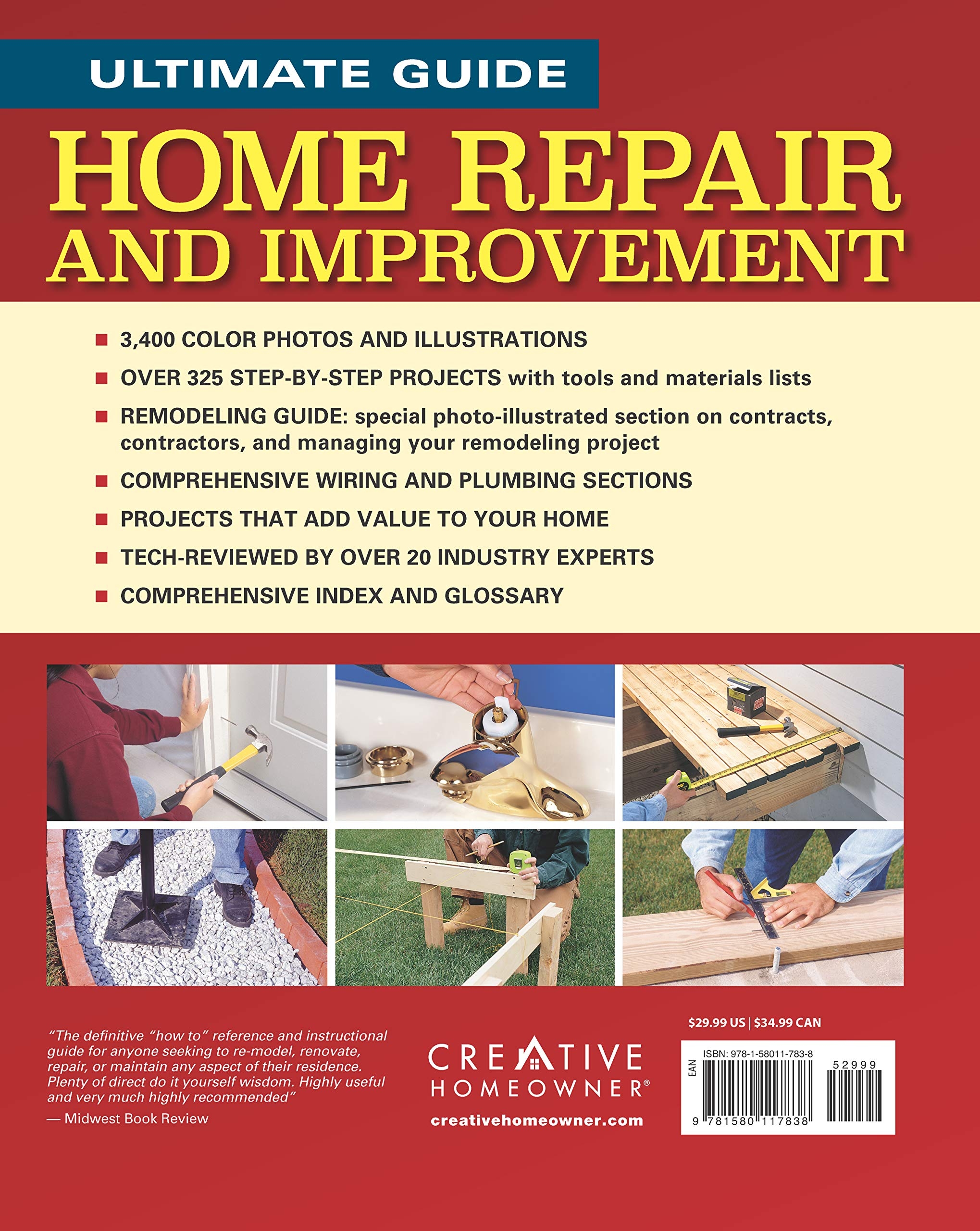 Ultimate Guide To Home Repair And Improvement Updated Edition Wiring Yourself Money Proven Saving Projects 3 400 Photos Illustrations Creative Homeowner 600 Page
