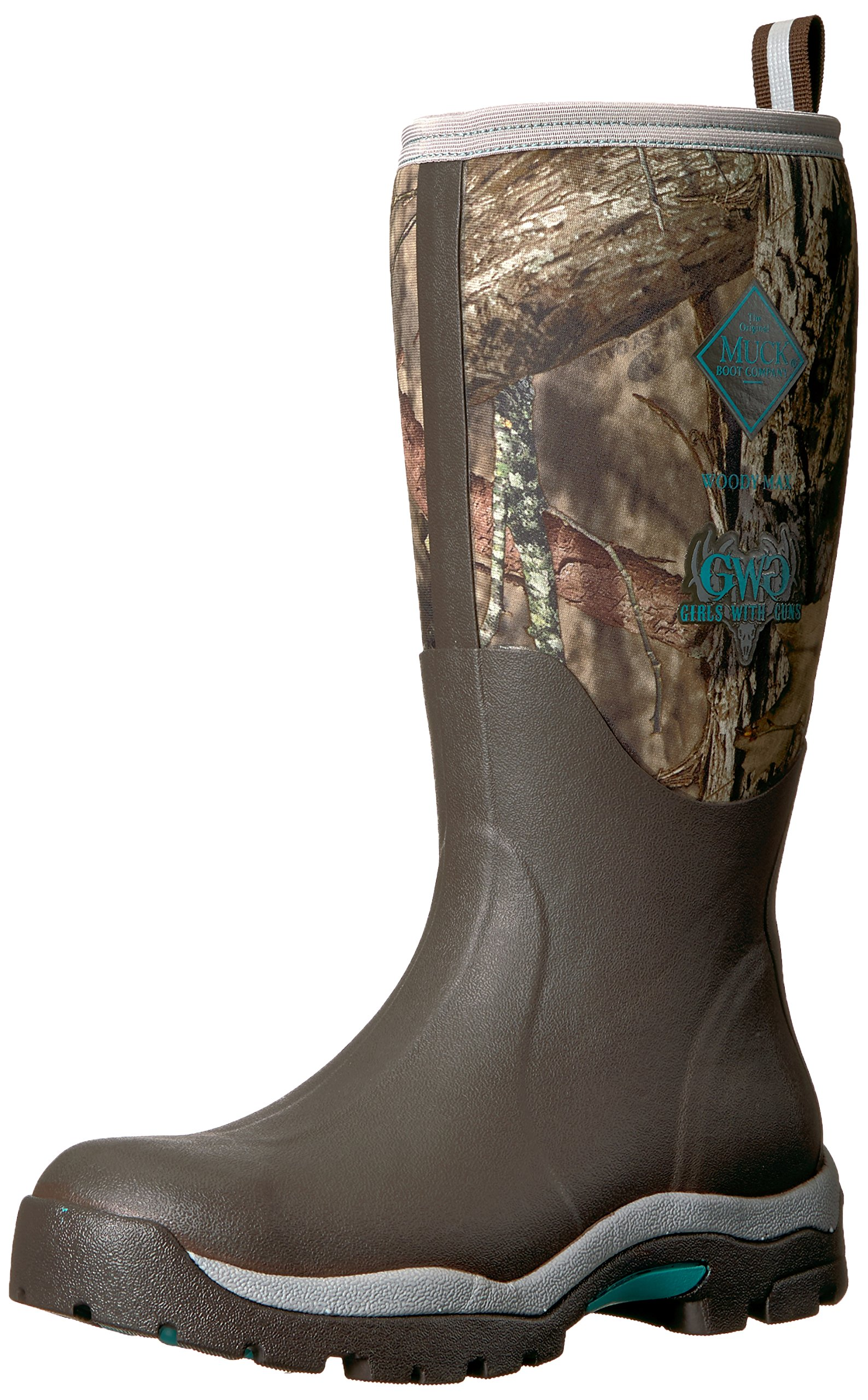 Muck Boot Women's Woody PK Work Boot, Bark, Mossy Oak Break-up/Teal, 8 M US