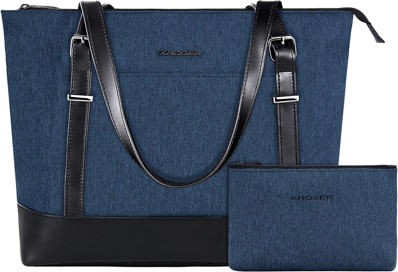 KROSER Laptop Tote Bag 15.6 Inch Large Shoulder Bag Lightweight Water-Repellent Women Stylish Handbag for Work/Business/School/College/Travel-Lake Blue