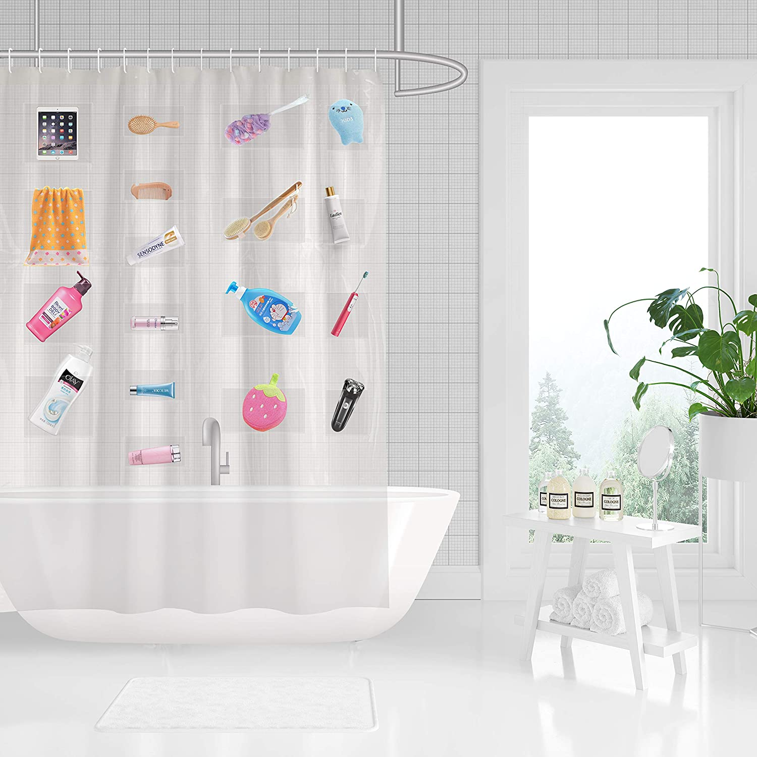 183 x 183 cm Anjee Shower Curtain with Hooks for Bathroom Sustainable Striped Bath Curtain Waterproof Mould Mildew Resistant