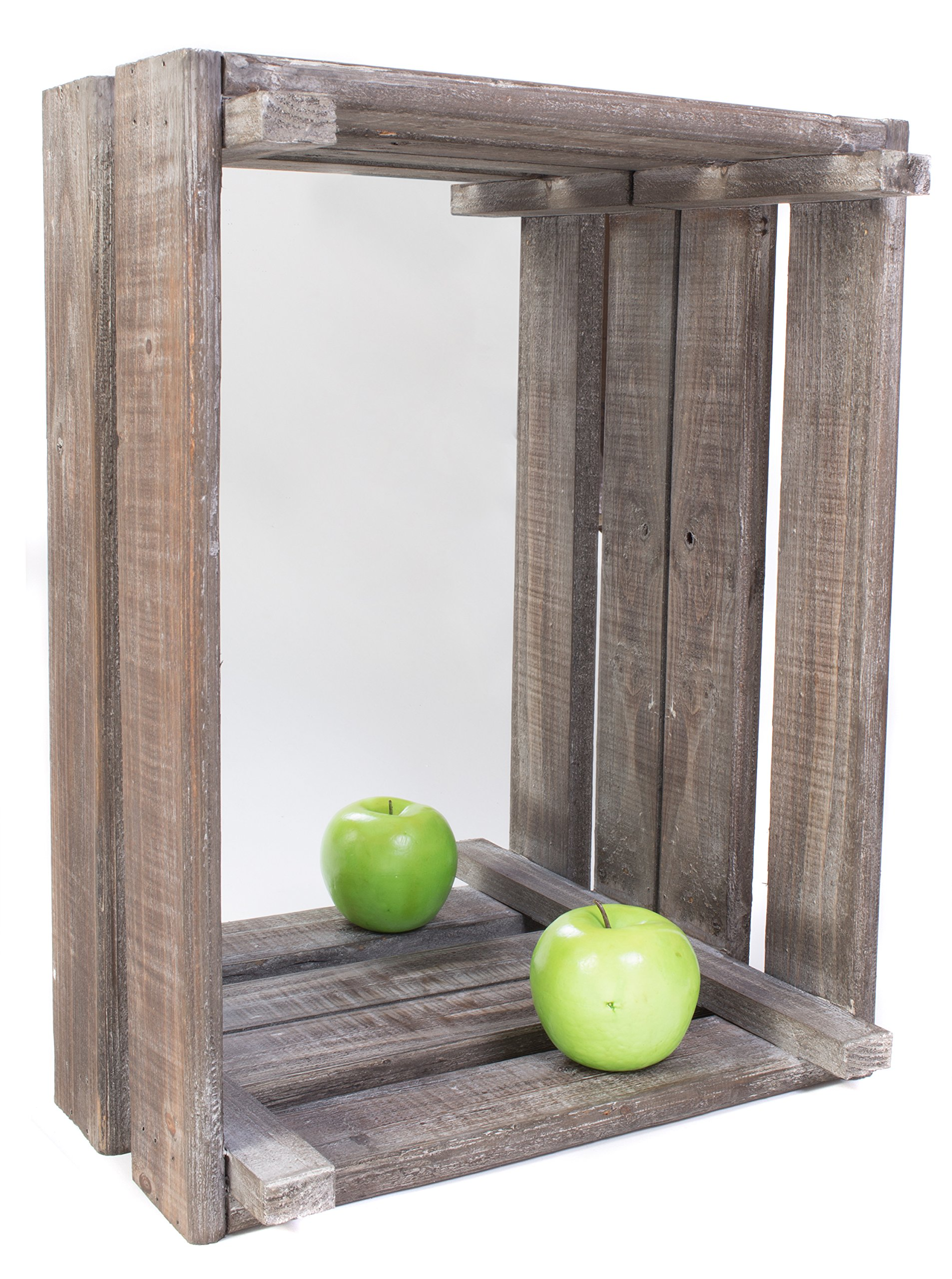 Primitive Décor Style Reclaimed Wooden Storage Crate Wall Mounted Mirror, 18''